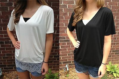 PIKO V Neck Short Sleeve Bamboo Top Lace Black Off White VNeck T2450