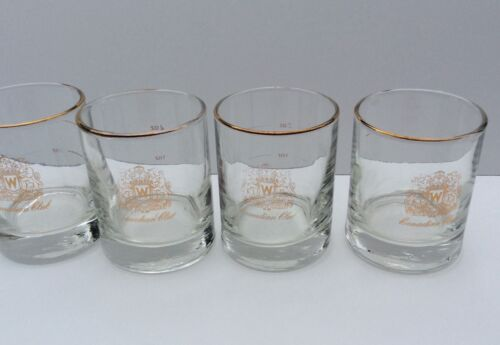 4 Canadian Club Whisky Gold Banded Shot Glasses 2 Ounce Whiskey