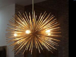 MID-CENTURY-BRASS-URCHIN-LIGHT-CEILING-LAMP-CHANDELIER-SPUTNIK-5BULB