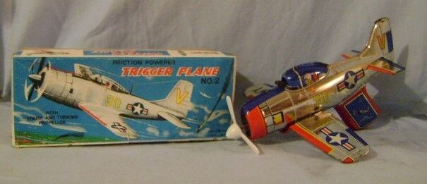 Vintage 60s Modern Toys Japan-Made Tin toy Friction Powered TRIGGER PLANE Toy