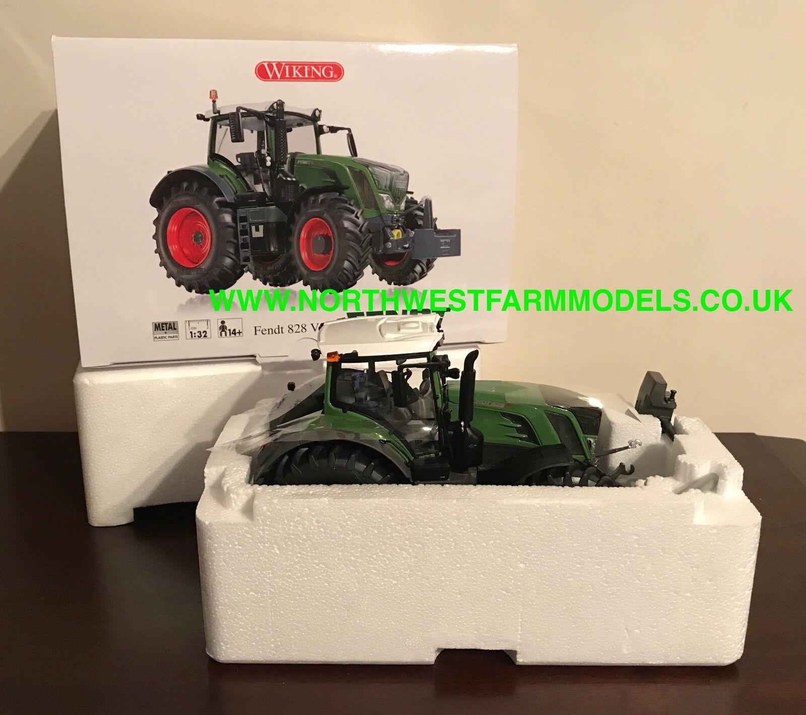 Wiking 1 32 escala Fendt 828 Vario Tractor verde estándar (caja Sellada)