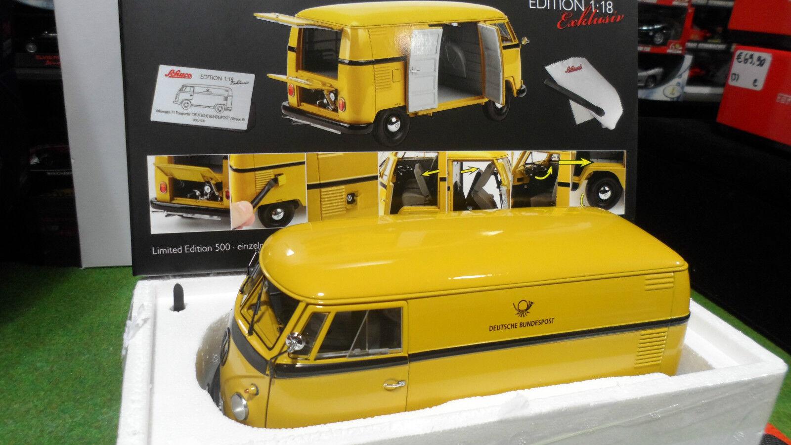 VOLKSWAGEN T1 TRANSPORTER FOURGON COMBI DEUTSCHE jaune 1 18 SCHUCO 00276