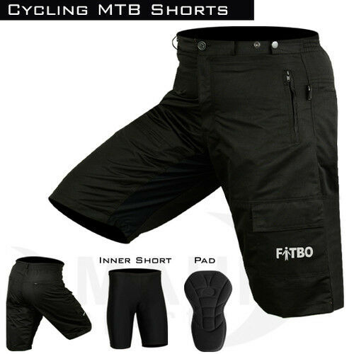 MTB Cycling Cycle Off Road Short With Padded Liner Shorts Black Size S-M-L-XL