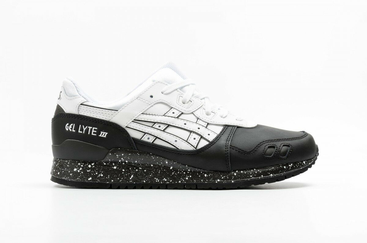 Mens Asics Gel Lyte III H6T1L 0101 Black White Leather Casual Trainers