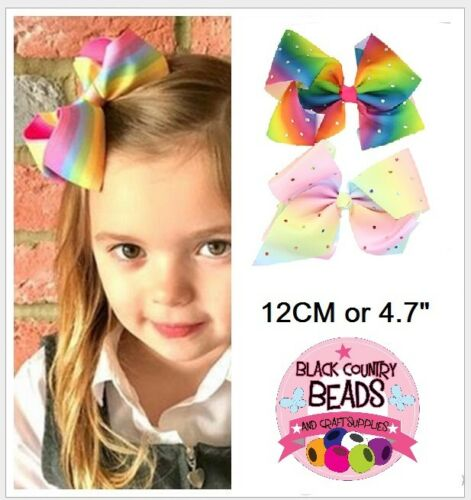 12cm Multi-Coloured Diamante Girls Hair Bow with Aligator Clip #5