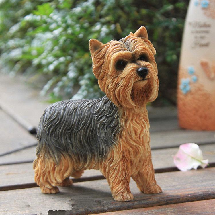 Harz mini - yorkshire terrier hund handgemalten simulationsmodell statue braun