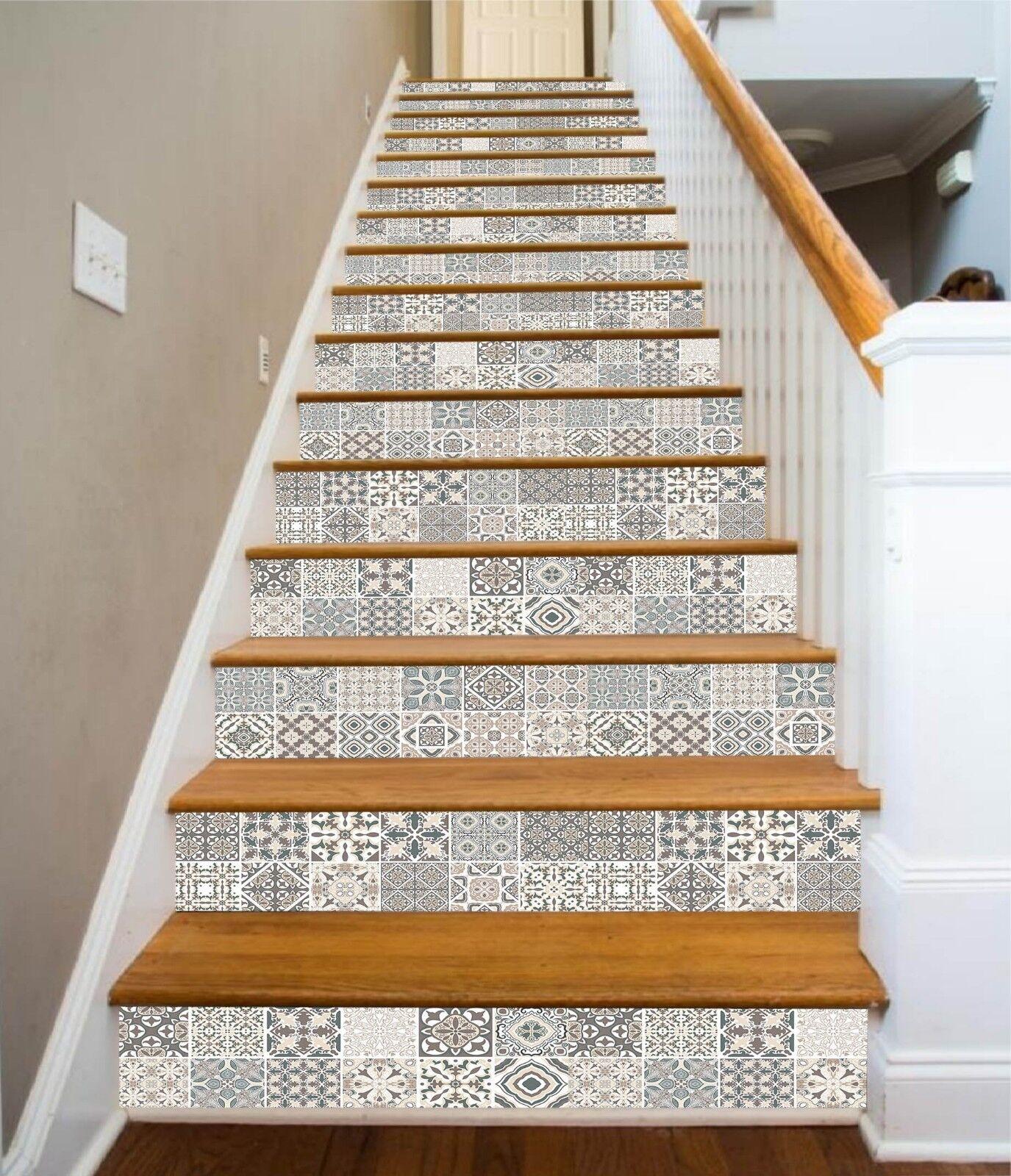 3D Karierte Blaume 7 Fliese Marmor Stair Risers Fototapete Vinyl Aufkleber Tapete