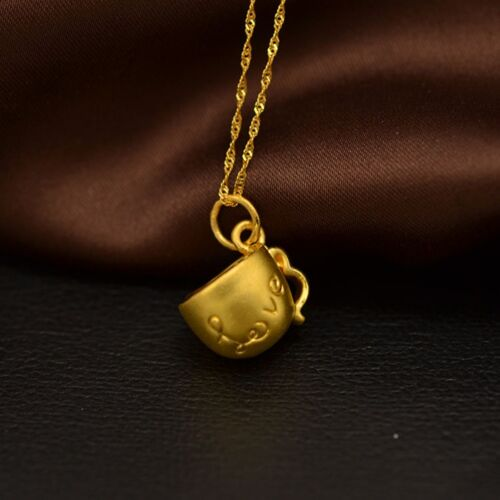 Pendant 1g Heart 1pcs New Pure Solid 999 24k Yellow Gold Lucky Couple Cup