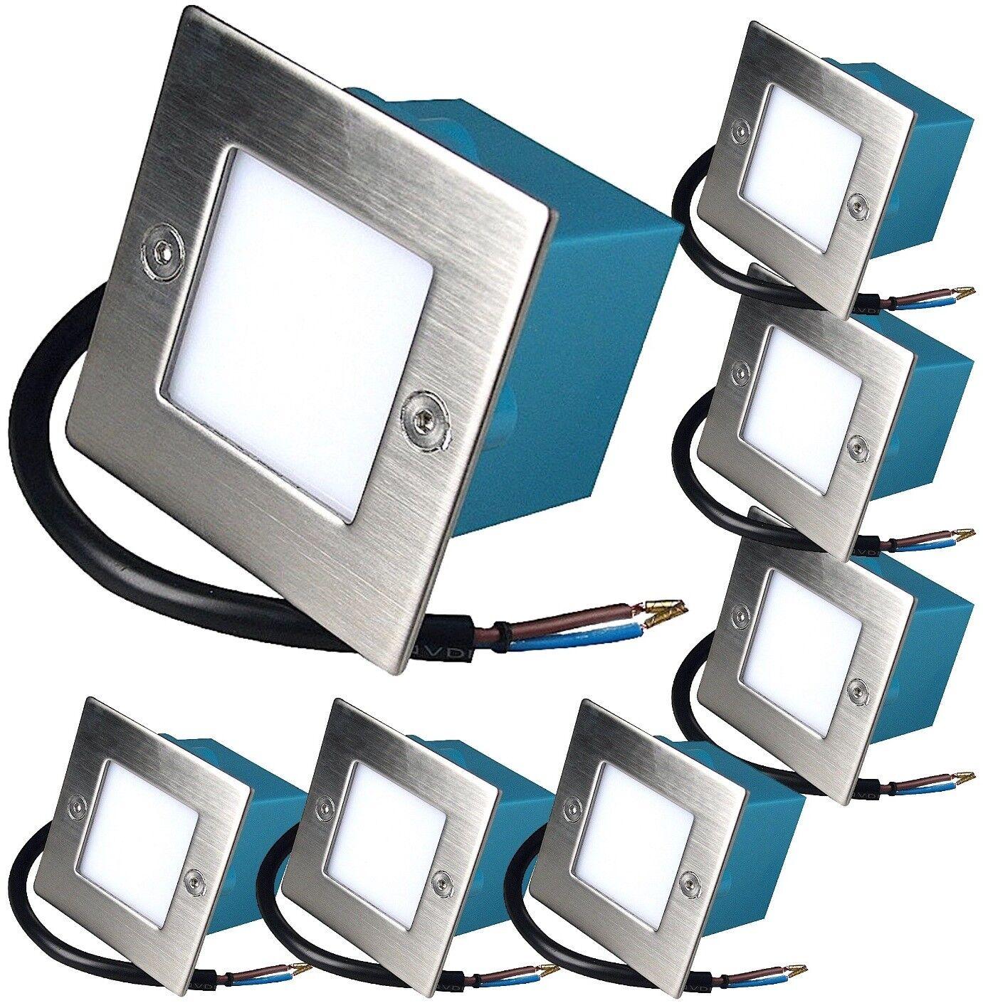 7 x LED Wand Einbaustrahler Treppen Leuchten LEON 230Volt IP54 Wandleuchten 1,5W