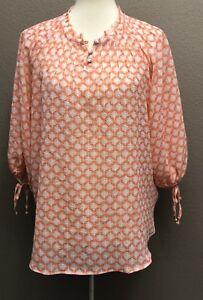 LC-Lauren-Conrad-Semi-Sheer-Blouse-Top-Size-L-Crinkled-Fabric