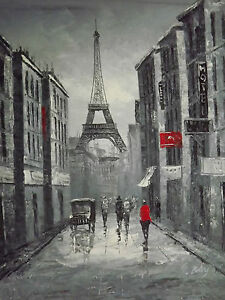 Image Is Loading Black White Red Paris Cityscape Large Oil Painting