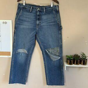 Levi's Womens Carpenter Jeans Size W34 Blue Raw Hem Crop Distressed High Rise
