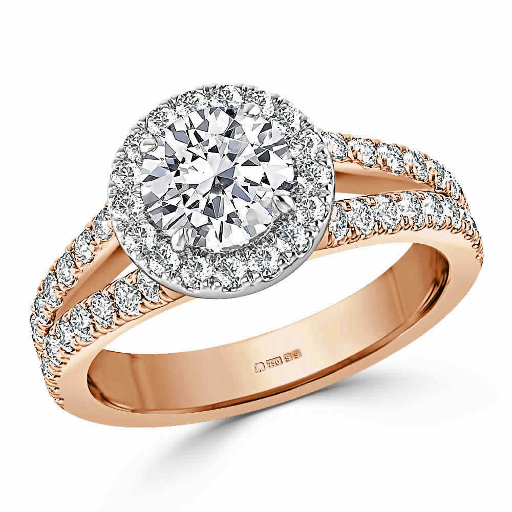 1.70 Ct Round Cut Bridal Diamond Engagement Ring 14K pink gold Rings Size 7