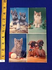 VINTAGE 50s/60s Musical Singing Postcard Records Schnauzer Puppy Christmas Cat