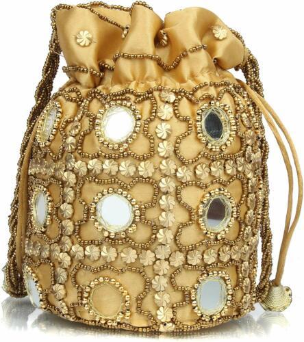 HANDMADE INDIAN ETHNIC CLUTCH SILK POTLI BATWA POUCH BAG WITH METAL BEADWORK