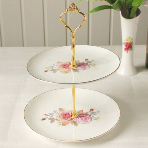 2//3Tier Cake Plate Stand Cupcake Fittings Silver Golden Wedding Party NoplatEUV