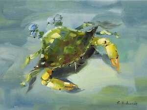 12x16-Green-Blue-Crab-Beach-Canvas-Original-Oil-Painting-Wall-Art-Work-Decor-New
