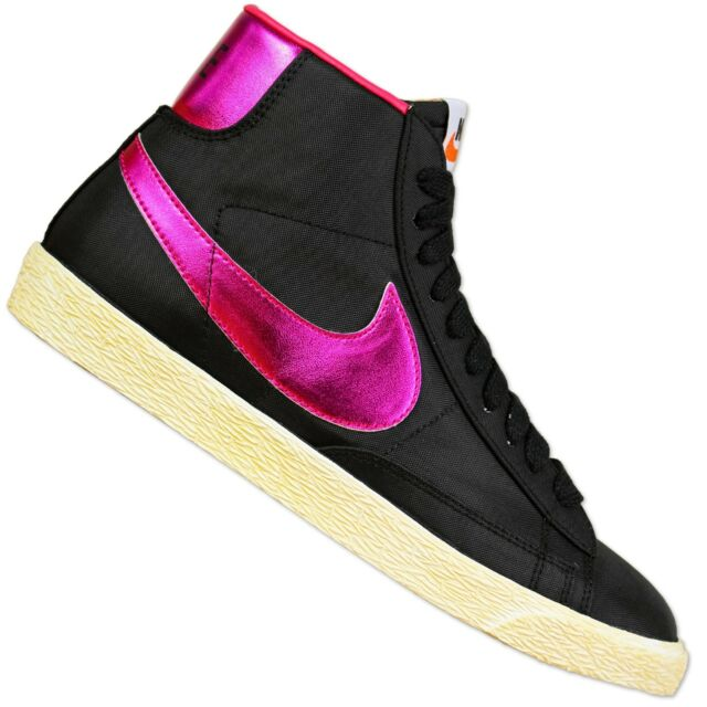 official photos a39a7 3c9c3 Nike Women s Blazer High Vintage Shoes Shiny Old School Sneaker Black Purple