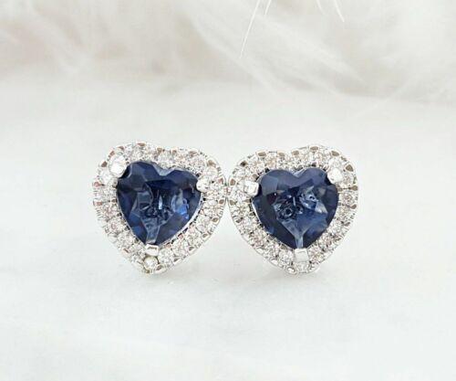 2ct Heart Cut Blue Sapphire Halo Love Stud Women Earrings 14ct White Gold Over