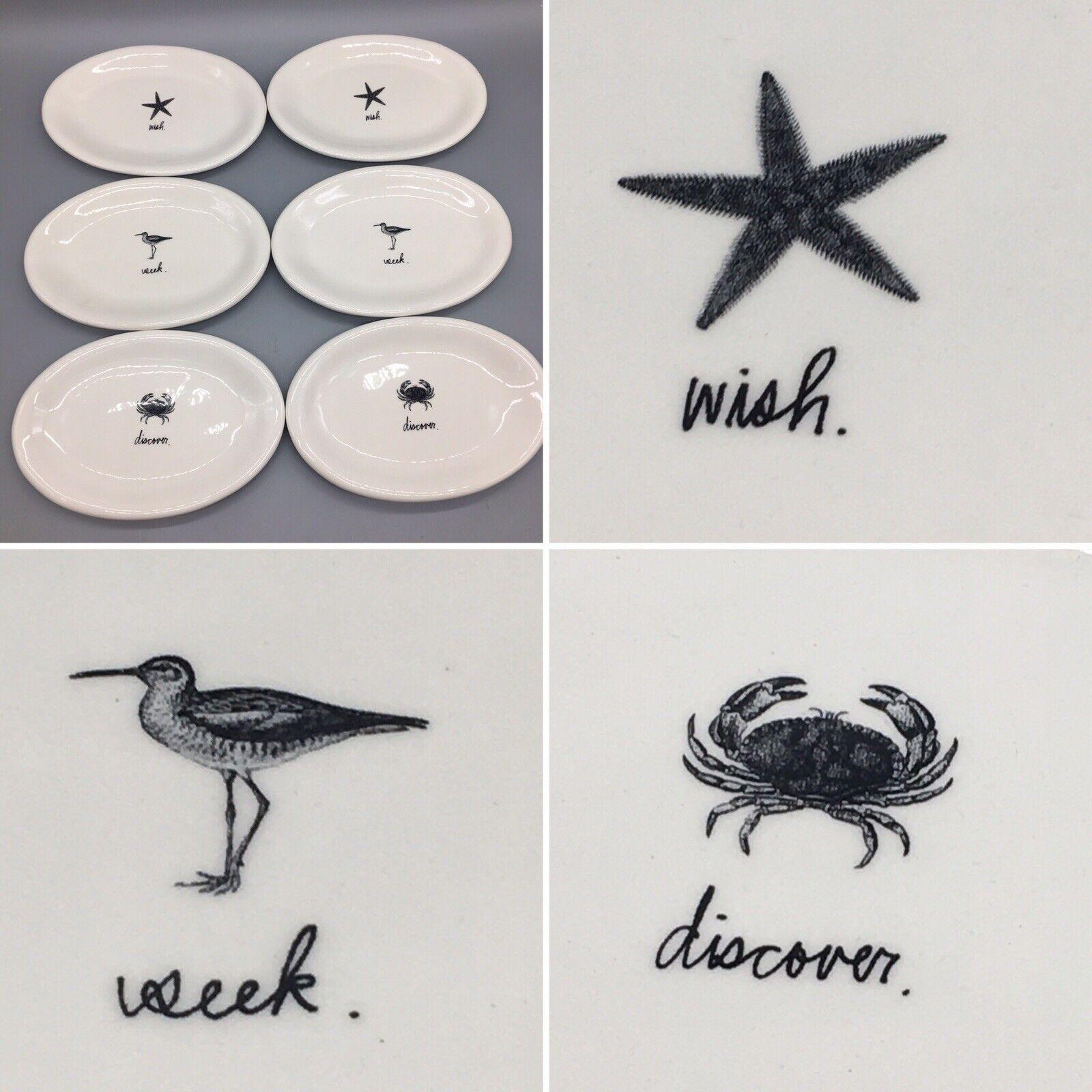 X6 Rae Dunn Oval Appetizer Plate Set Starfish Crab Sea Bird Seek Discover Wish