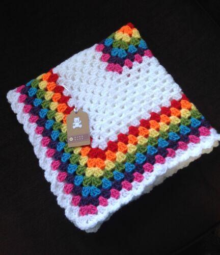 Hand crochet baby blanket//car seat//pram//crib rainbow boy girl Christmas gift
