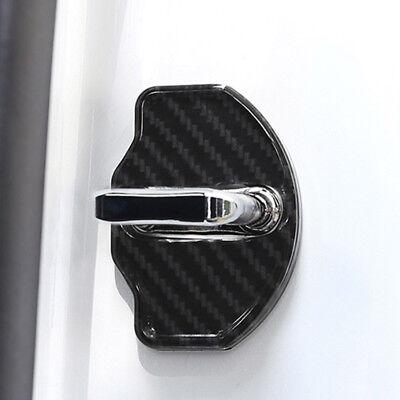 4X Carbon Fiber Car Door Lock Protective Cover Cap Sticker For Tesla Model 3 CY