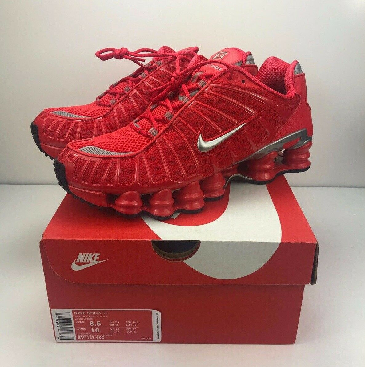 Nike Shox TL Speed Red Metallic Silver Running shoes BV1127-600 Mens Size 8.5