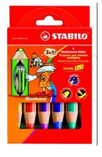 STABILO WOODY AQUARELL-FARBSTIFT 6 STÜCK PACKUNG MULTITALENT-STIFT 3 IN1 NEU