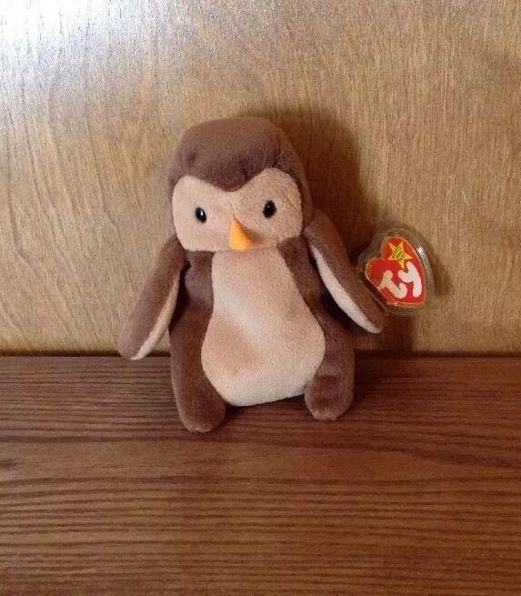 Beanie Babies Hoot Owl 1995 Style Retired Stuffed Plush Toy PVC Pellets ty baby