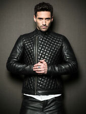 New stylish men quilted real lamb skin black leather motorcycle slim fit jacket