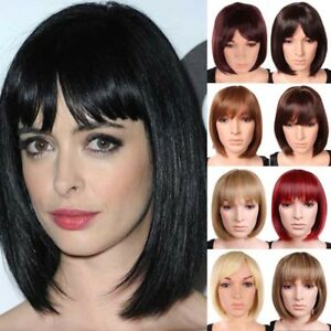 Details about Real Natural Short Bob Cut With Fringe Full Wig Black Blonde  Ombre Balayage Wigs