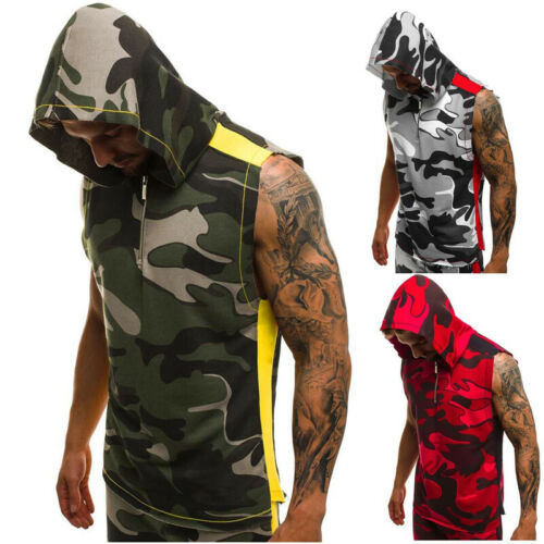 Sport Men/'s Gym Vest Sleeveless T Shirts Hoodie Bodybuilding Tank Tops Camo Vest