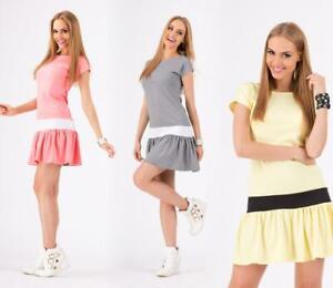 Kleid Klassisch Elegant mit Rüschen in 2 Farbig Mini-Kleid Gr. 36 38 S M, M107