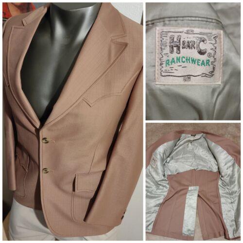 Vtg 60s 70s H BAR C Tan Western Blazer Suit Jacket
