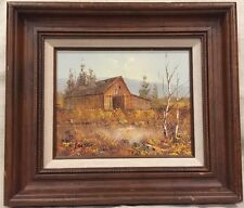 1984?? COUNTRY BARN FARM SCENE OIL on CANVAS by K. FALTER SIGNED, Certified Oil