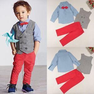 UK Toddler Kid Baby Boy Top T-shirt+Sweater Vest Long Pants Outfit 3PCS Clothes