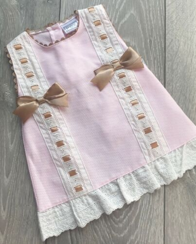 Pex baby girl spanish style lace summer dress pink and gold double bow