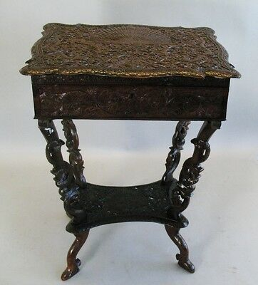 Profusely Carved 19th C. Anglo-Indian Carved Ebony Sewing Writing Table antique