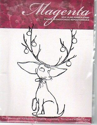 New Cling MAGENTA RUBBER STAMP Eliot's antlers dog reindeer Christmas funny