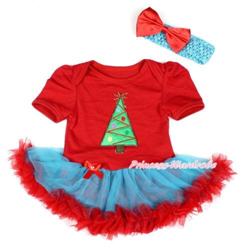 XMAS Christmas Tree Red Bodysuit Peacock Blue Red Skirt Baby Girl Dress NB-12M