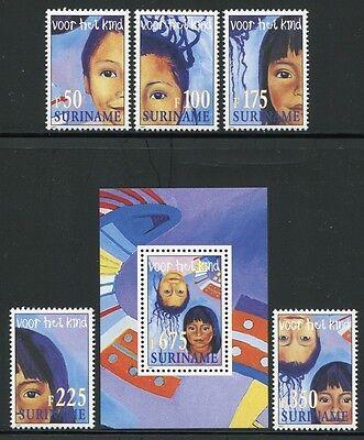 Bl.71 ** Mnh Gehorsam Surinam 1997 Kinder Children 1623-27 Briefmarken