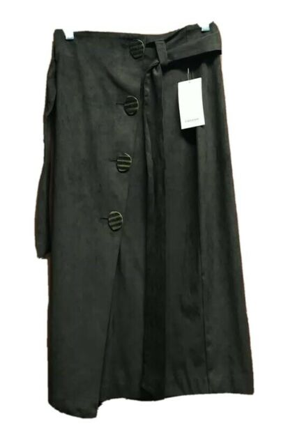 Zara Basic Womens A Line Skirt Brown Faux Suede Midi Button Front Belted XS New