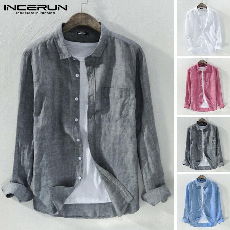 Generic Mens Button Down Cotton Linen Long Sleeve Summer Beach Casual Shirt Tops