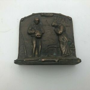 Antique Farmers Praying Cast Iron Single Bookend Bronze Tone Harvest Vintage  B9