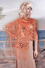 Sheer Embroidery Sequin Shawl Wrap Scarf Evening Prom Wedding - W295