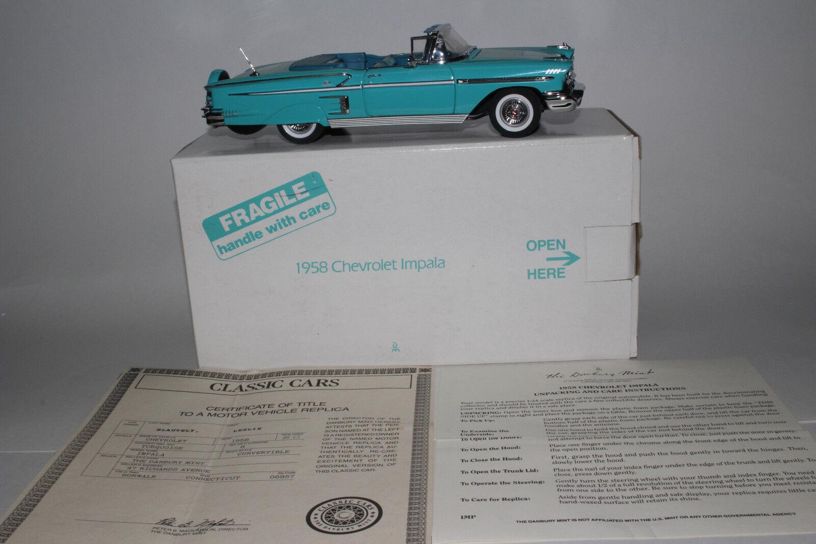 Danbury Menta 1958 Chevrolet Impala Converdeibile, 1 24 Scala Die Cast modellolo