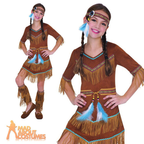 Child Red Indian Girls Costume Squaw Dream Catcher Pocahontas Fancy Dress Outfit
