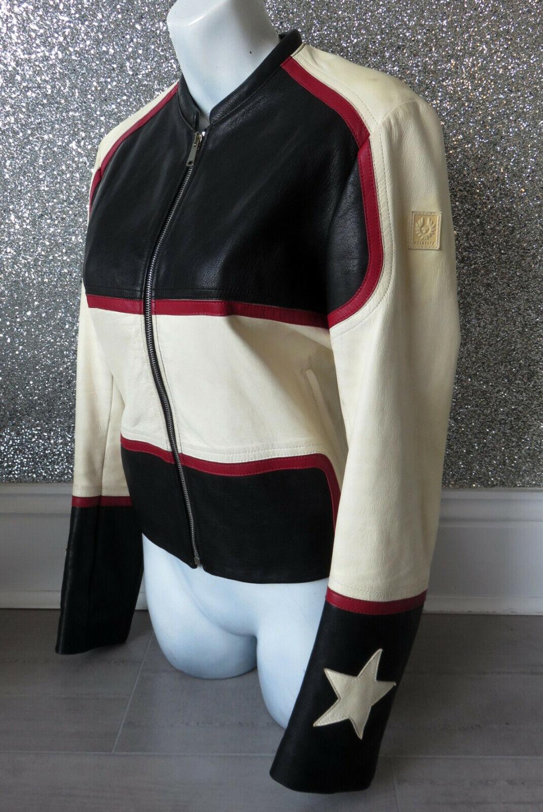 Stunning Belstaff Whitaker Star Black Red White Great Patina Leather Jacket IT42