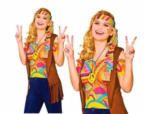 Ladies Cool Hippie Hippy Costume Adulto Psichedelico Costume Taglia UK 10-20