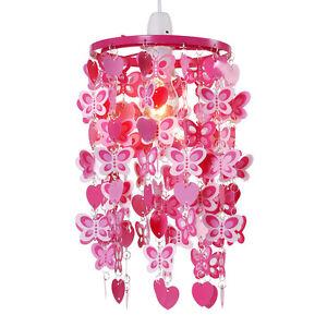 Modern-Girls-Pink-Red-Hearts-Butterflies-Ceiling-Light-Pendant-Lampshade-NEW